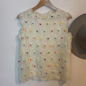 Vintage Hand Crochet Pom Tank